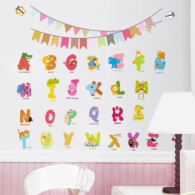 birthday wall design ; Jungle-wild-Animal-design-characters-letters-wall-sticker-Nursery-kids-room-Flag-Birthday-decoration-wall-Decals