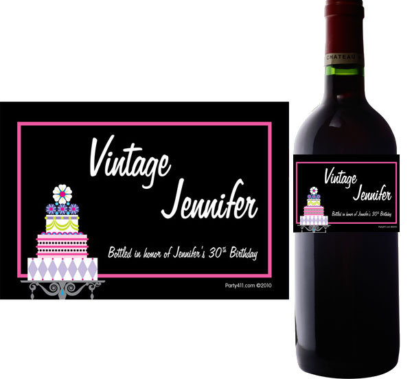 birthday wine bottle ; label-wine-cake05