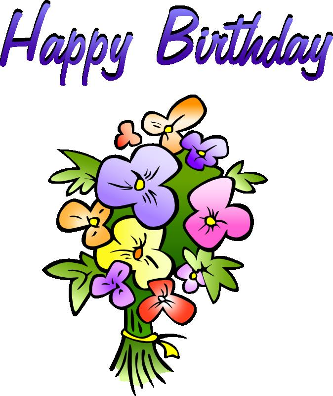 birthday wishes clip art ; flowers