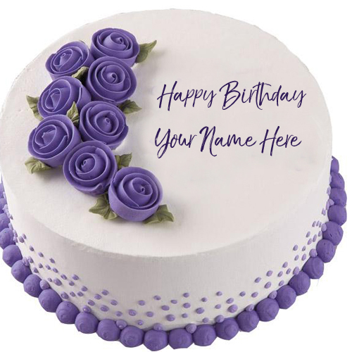 birthday wishes on cake with name and photo ; Birthday-Wishes-Flowers-Cake-Name-Printed-Pictures