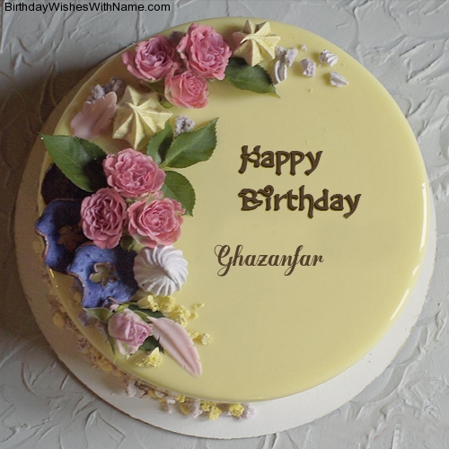 birthday wishes on cake with name and photo ; birthday-cake-ecard-with-name-ghazanfar