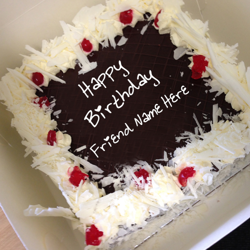 birthday wishes on cake with name and photo ; my-name-on-square-chocolate-cake-pictures