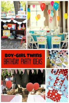 boy and girl birthday party ideas ; 5bf8ab11add4a58d40cca65e4262e637--twin-birthday-parties-birthday-fun