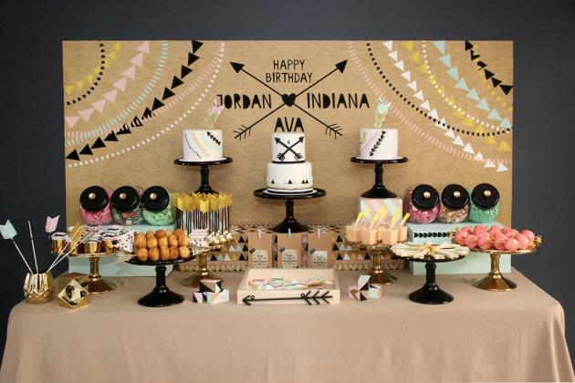 boy and girl birthday party ideas ; boy-and-girl-aztec-birthday-party-dessert-table-ideas