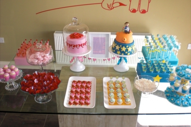 boy and girl birthday party ideas ; little_prince_birthday_boy_girl_party_cake_dessert_table_overhea