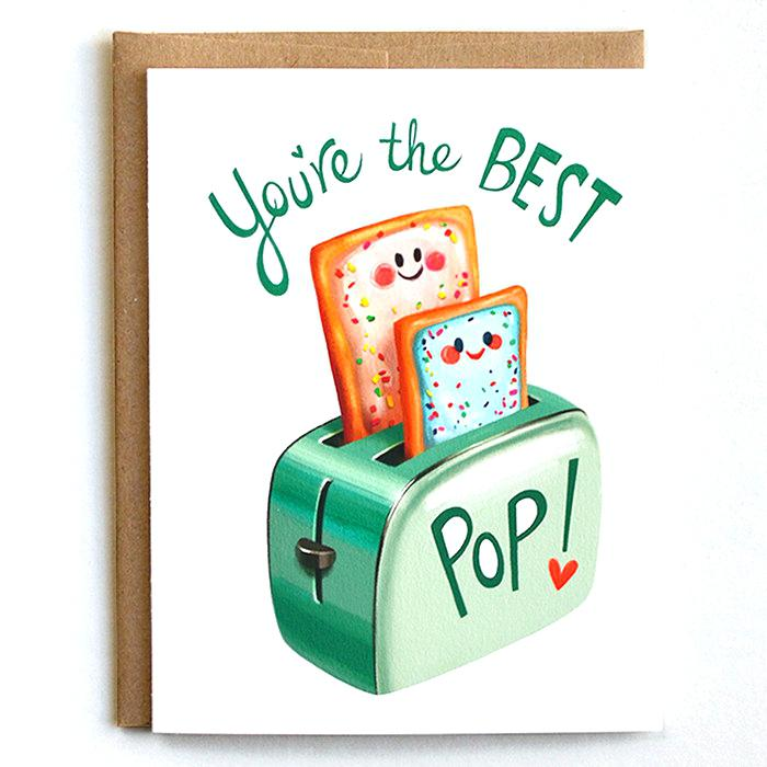 bread birthday card ; funny-dad-birthday-cards-dad-birthday-cards-you-are-the-best-bread-pop-red-heart-white-background-green-letters-simple-funny-father-birthday-ecards