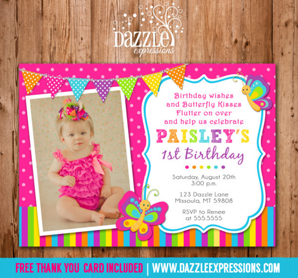 butterfly birthday invitations ; ButterflyRainbow2