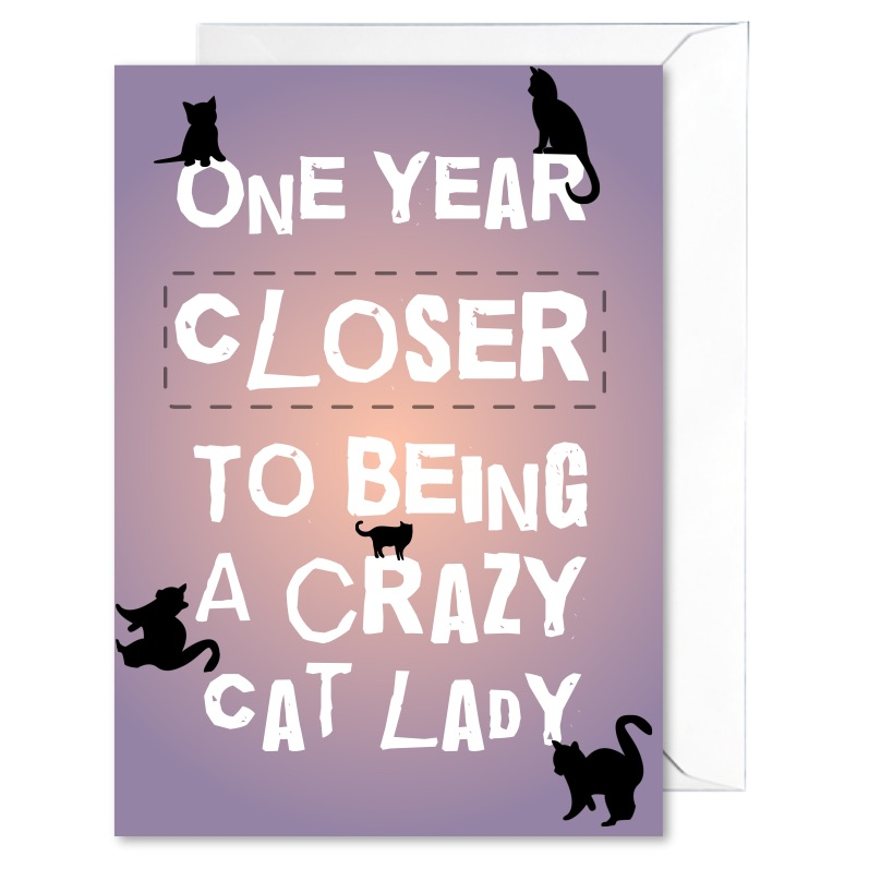 cat lady birthday card ; crazy_cat_lady_funny_cards