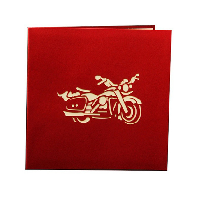 christmas birthday card ; 3D-Motorcycle-Model-Funny-3D-Paper-Laser-Cut-greeting-Cards-Birthday-Christmas-greeting-card-Friend-Party