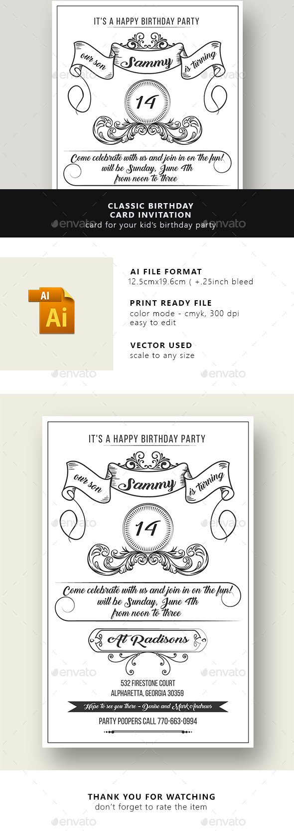 classic birthday invitation cards ; preview