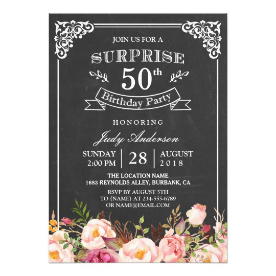 classic birthday invitation cards ; vintage_chalkboard_floral_surprise_birthday_party_card-re5acbd6e5e9f4ac68b1c7e1031883281_zkrqe_540
