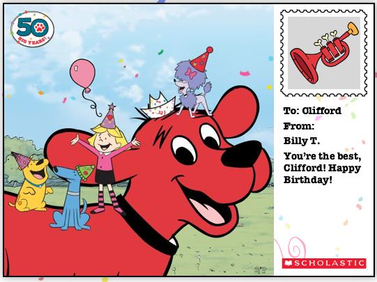 clifford the big red dog birthday card ; 6fd227ca77989d4344f8b02bca8a926c