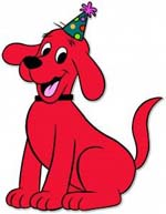 clifford the big red dog birthday card ; Clifford-Party-Hat