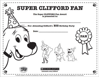 clifford the big red dog birthday card ; birthday_certificate_lg