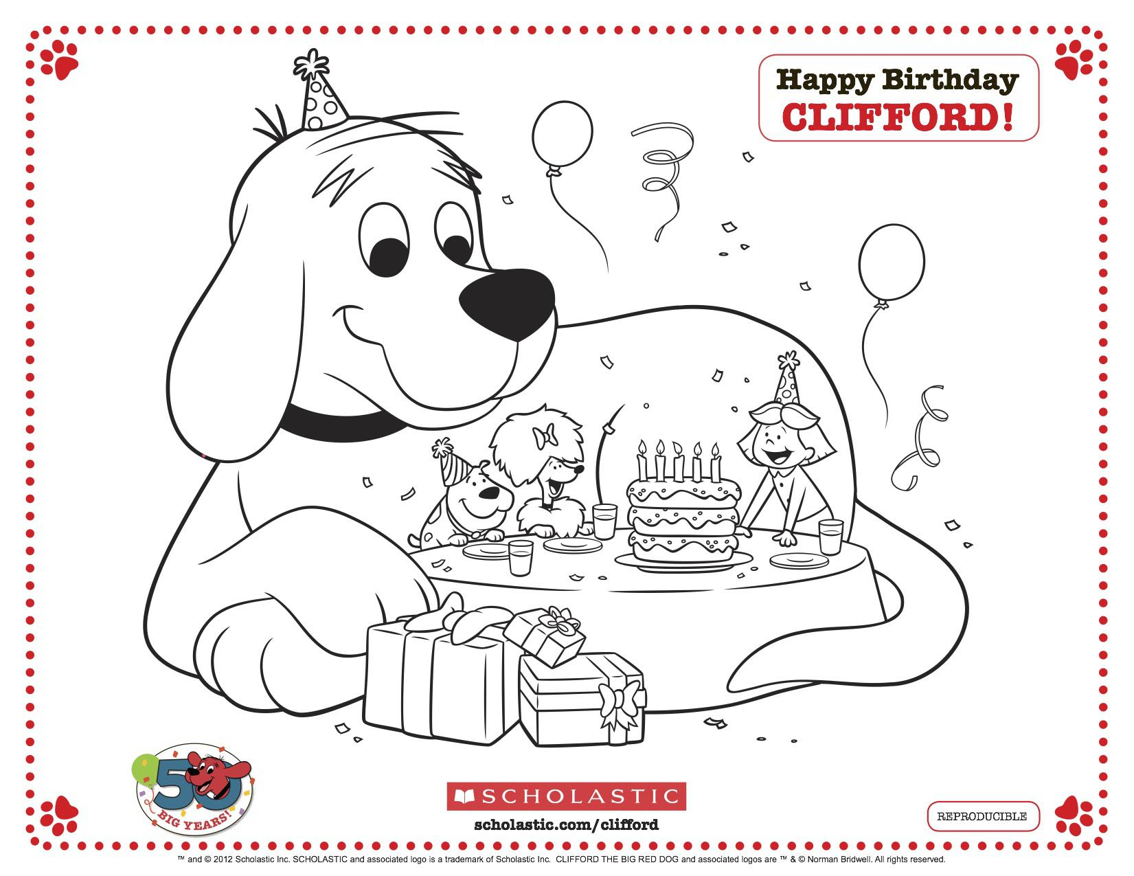 clifford the big red dog birthday card ; clifford_partytable