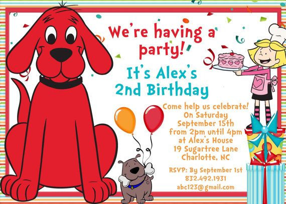clifford the big red dog birthday card ; dog-birthday-invitations-beautiful-clifford-the-big-red-dog-birthday-invite-card-can-be-personalized-or-of-dog-birthday-invitations