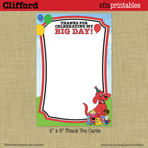 clifford the big red dog birthday card ; il_570xN