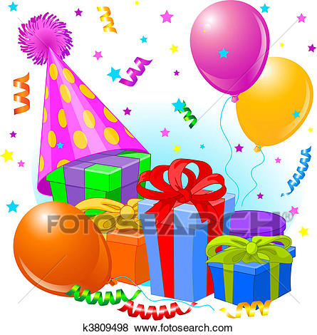 clip art birthday party pictures ; birthday-gifts-and-decoration-clip-art__k3809498