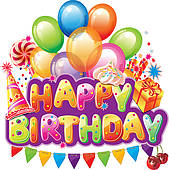 clip art birthday party pictures ; happy-birthday-text-with-party-element-vector-clipart_k12298660