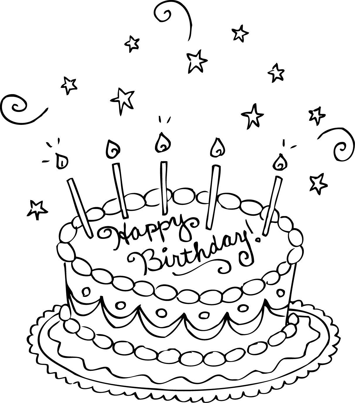 color a birthday cake ; Coloring-Page-Birthday-Cake