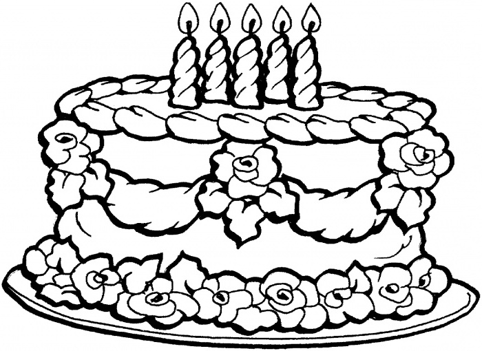 color a birthday cake ; picture-of-a-birthday-cake-to-color