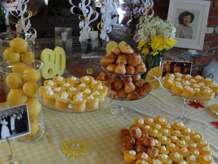 color theme for 80th birthday party ; 80th-Birthday-Cupcakes-Table
