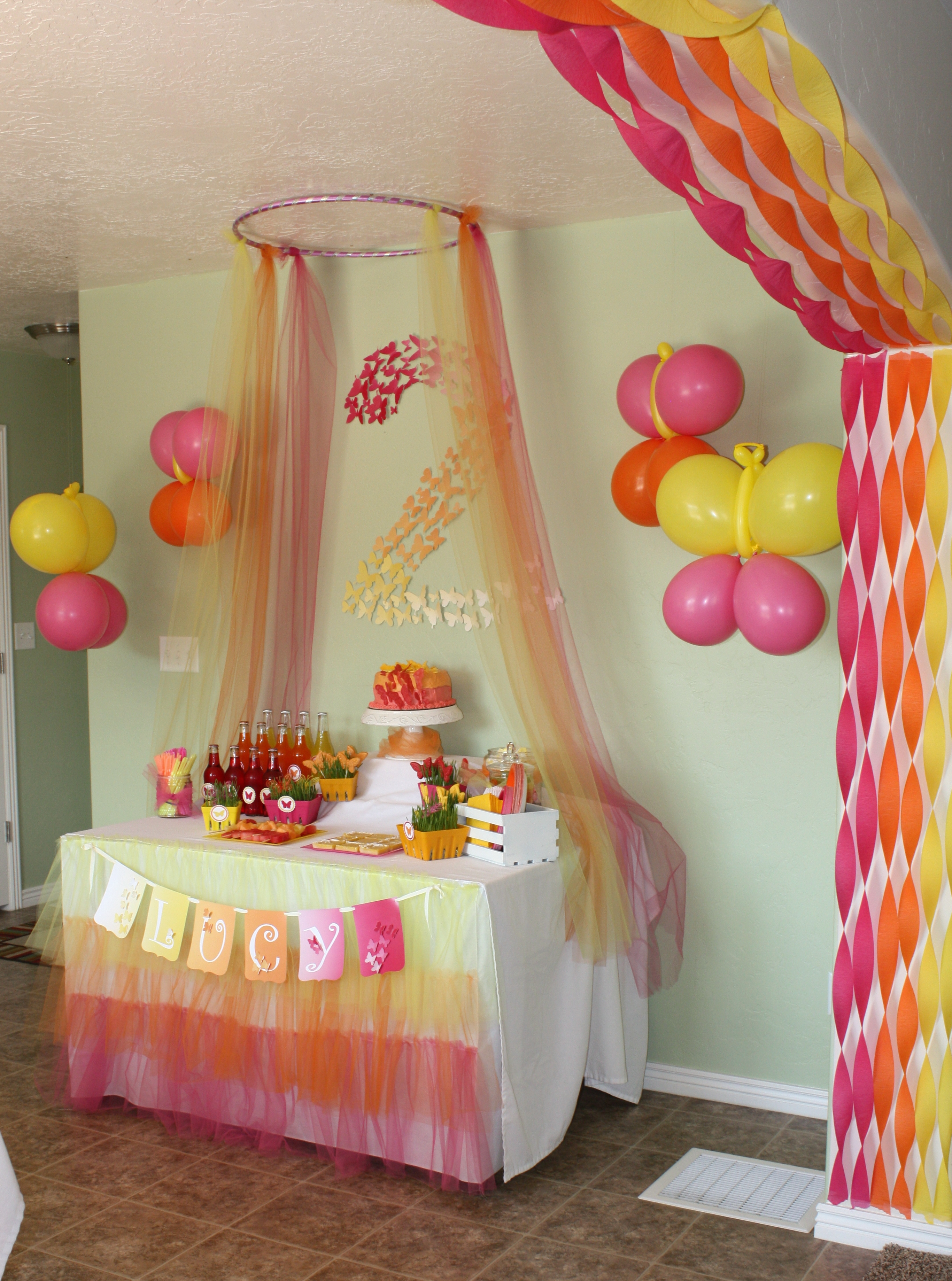 color themed birthday party ideas ; Butterfly-Themed-Party-Decorations-eventstocelebrate