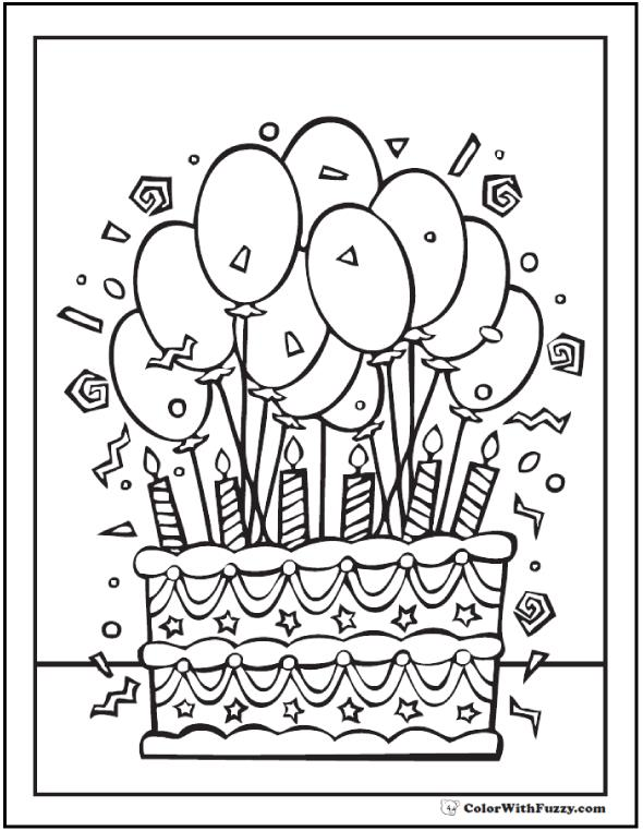 coloring pages for birthday cakes ; 6th-birthday-coloring