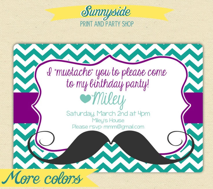 come to my birthday party invitation ; 133a327cbce67891703d3699ef8ef737--mustache-birthday-mustache-party