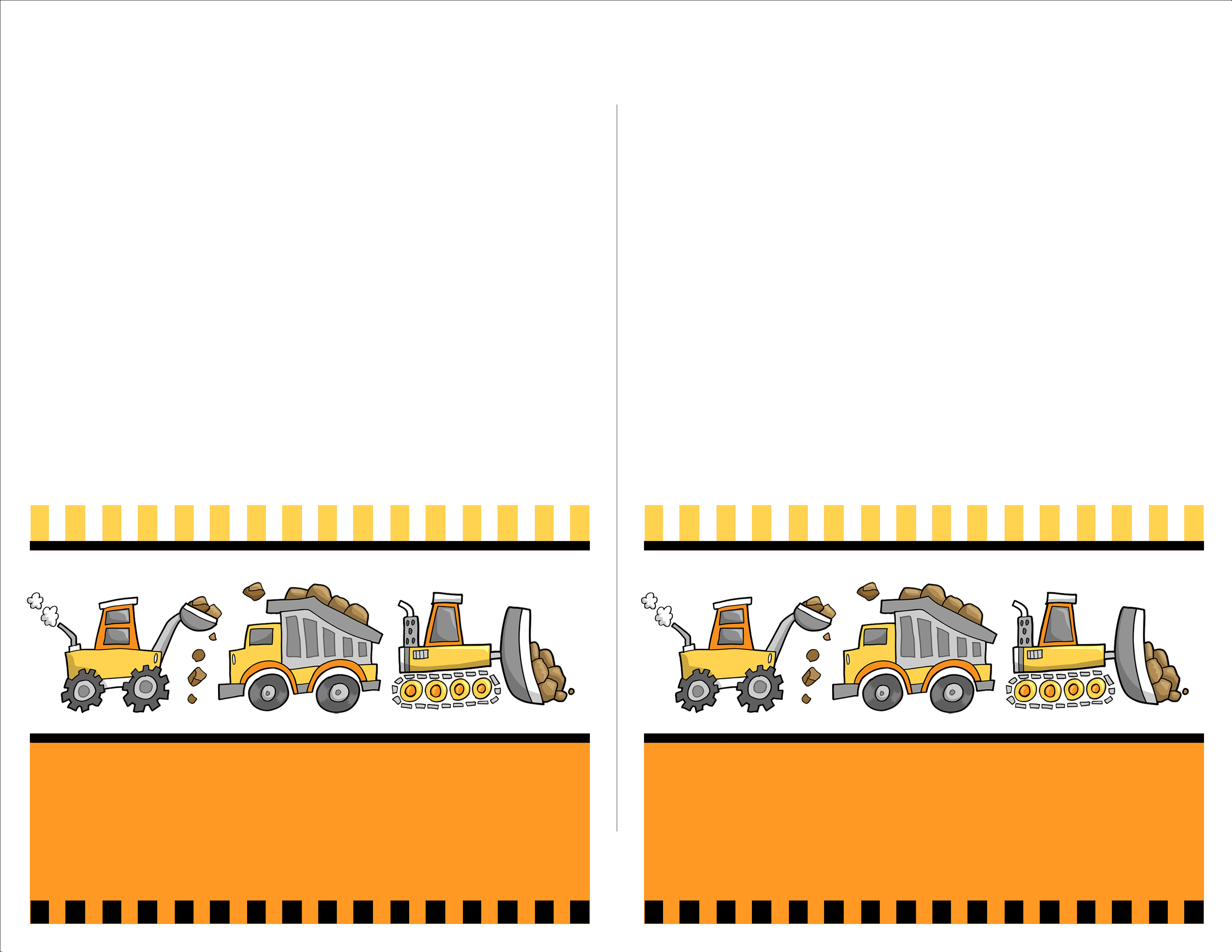 construction birthday party invitation templates ; construction-food-cards