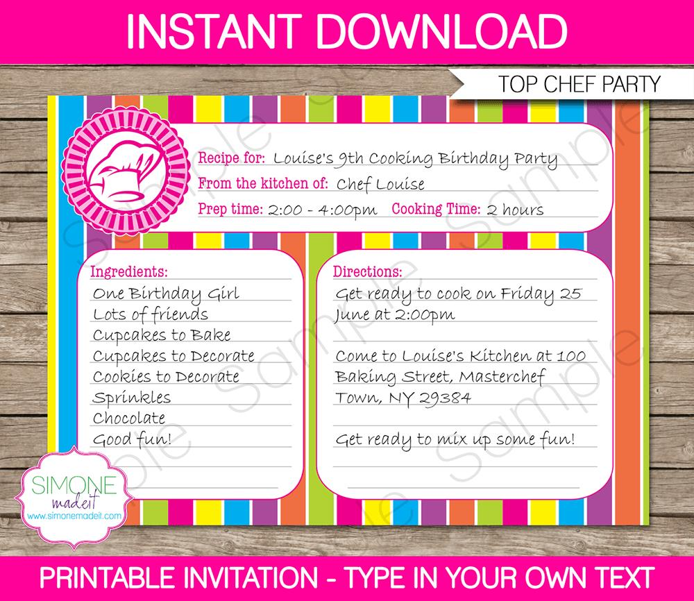 cooking birthday party ; Printable-Top-Chef-Party-Invitation