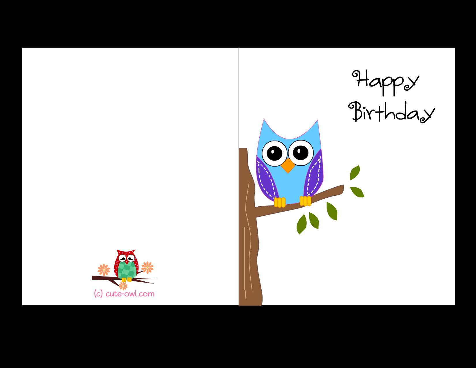 create a birthday card online printable ; owl-birthday-card-3
