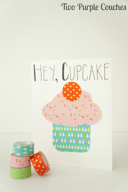 cupcake birthday card ; cupcake-birthday-card-washi-tape-TPC