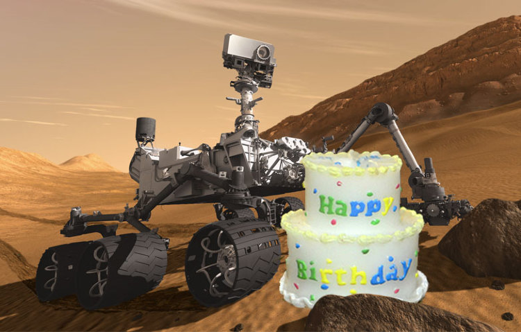 curiosity mars rover happy birthday ; download