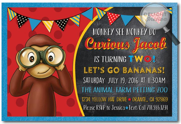curious george birthday invitation template ; Curious-George-Birthday-Invitations-Walmart
