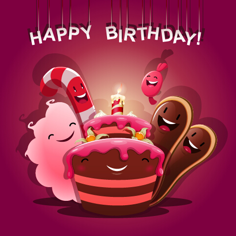 cute birthday pics ; Cute-birthday-cakes-free-vector-background-02