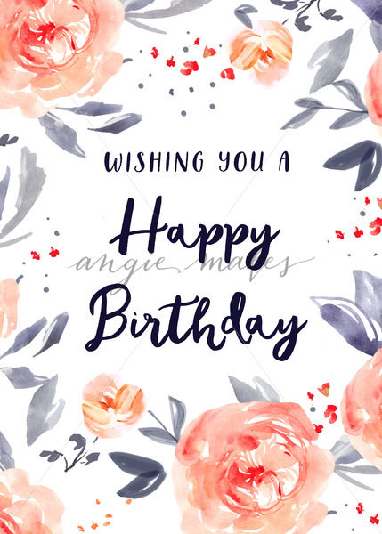 cute happy birthday pictures ; Cute-Happy-Birthday-Card-with-Watercolor-Flowers