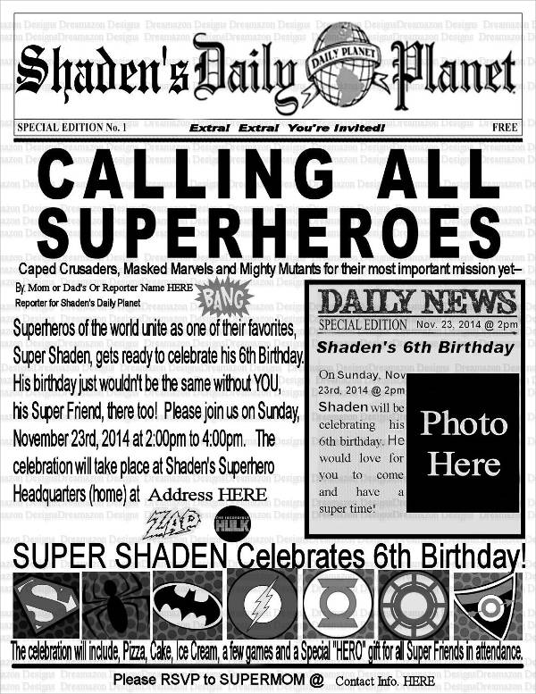 daily planet birthday invitation ; Birthday-Wishes-Newspaper-Template