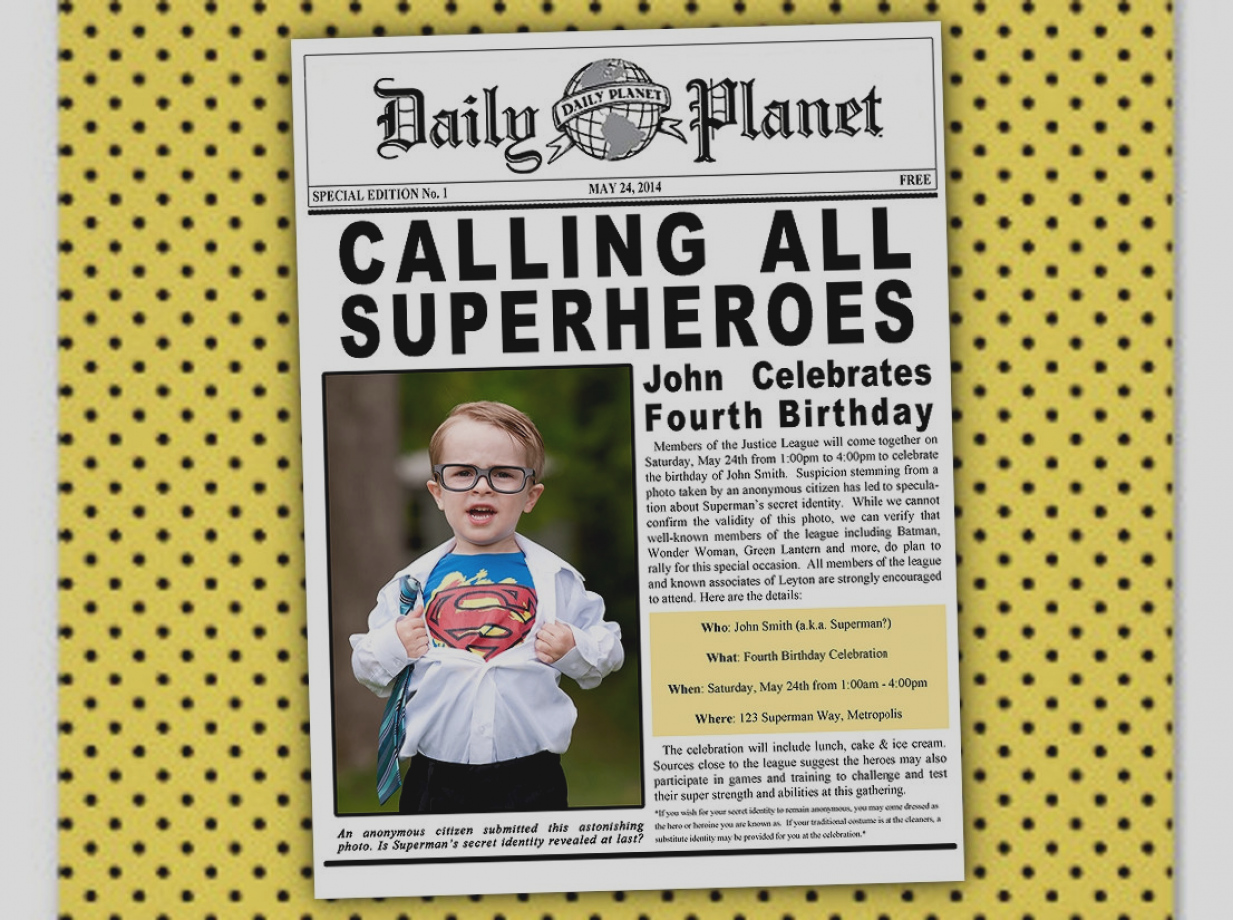 daily planet birthday invitation ; images-newspaper-party-invitations-superman-batman-superhero-justice-league-birthday