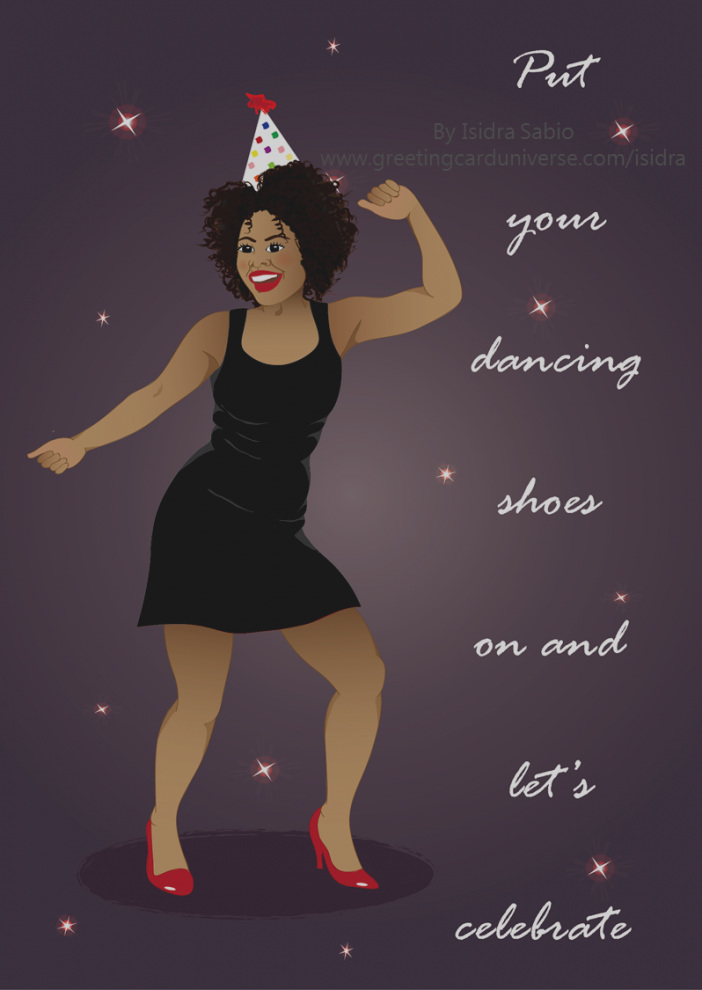 dancing heads birthday card ; inspirational-black-woman-birthday-card-for-women-in-red-dress-dancing-under-the-stars