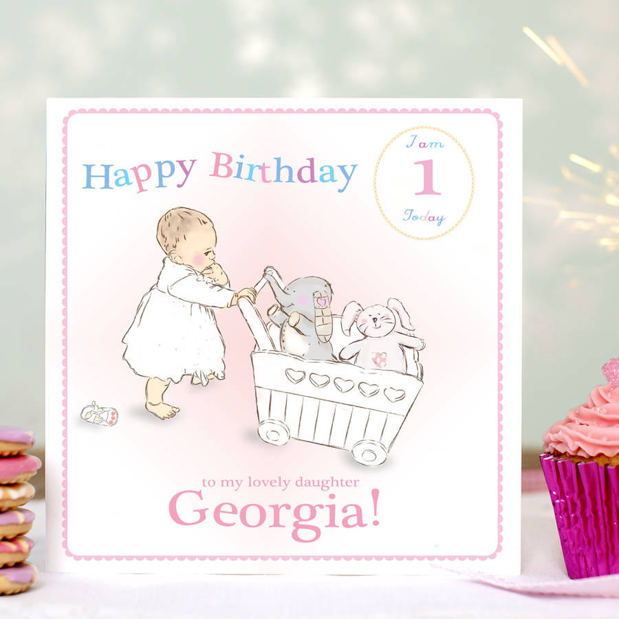 daughter 1st birthday card personalised ; original_personalised-first-birthday-card-pink