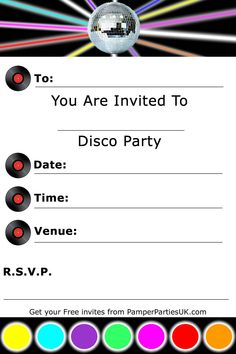 disco birthday invitation templates free ; disco-party-invitations-for-your-extraordinary-Party-Invitation-Templates-associated-with-beautiful-sight-using-a-adorable-design-11