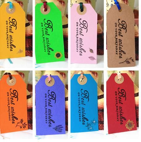 diy birthday gift tags ; multicolored-birthday-gift-tag-with-silk