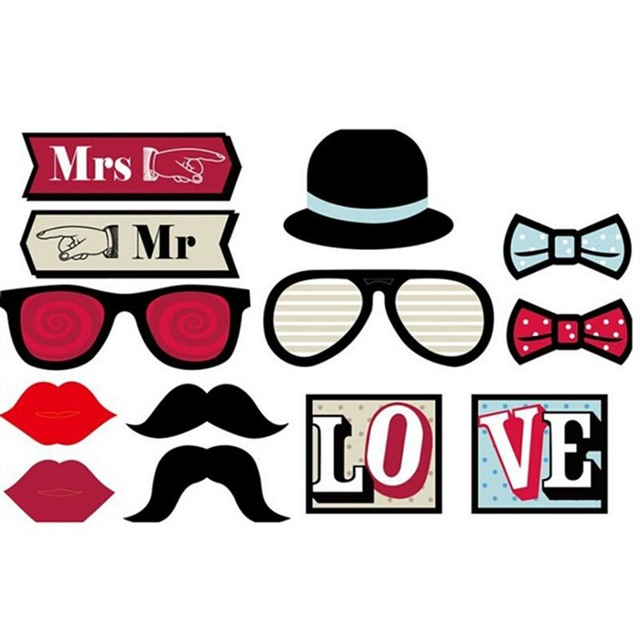 diy photo booth props birthday ; 13pcs-DIY-Funny-Photobooth-Photo-Booth-Props-For-Wedding-Birthday-Party-Photo-Booth-Props-Glasses-Mustache