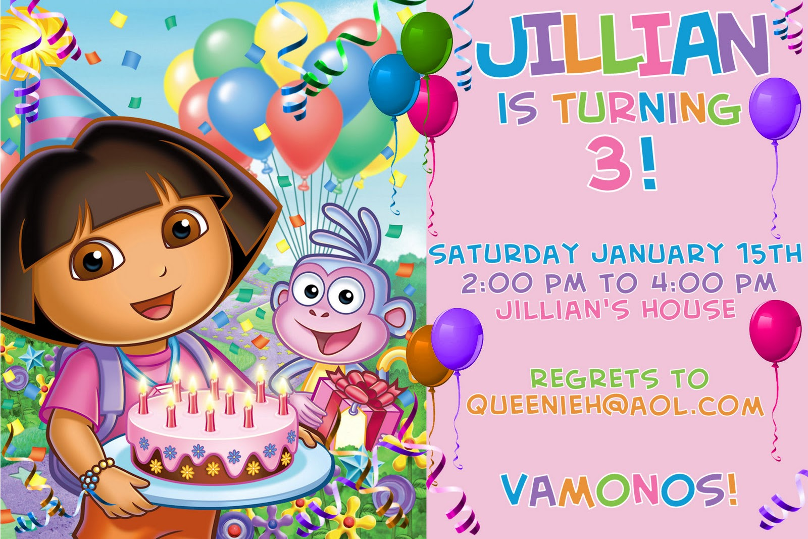dora colors for birthday party ; others-interesting-3rd-birthday-party-invitation-card-with-dora-the-explorer-and-cute-ballon