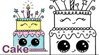 draw so cute birthday cake ; 4e1dcb9374fa2de77f247ab34b575159