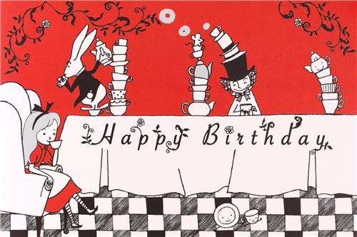 fairy tail birthday card ; red-white-Alice-in-Wonderland-fairy-tale-postcard-birthday-card-from-Japan-191087-1