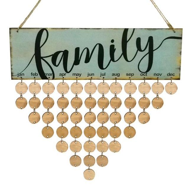 family birthday calendar sign ; 2018-Wood-Family-Birthday-Reminder-Calendar-DIY-Wall-Hanging-Special-Date-Planner-Sign-Board-Decor-Plaque