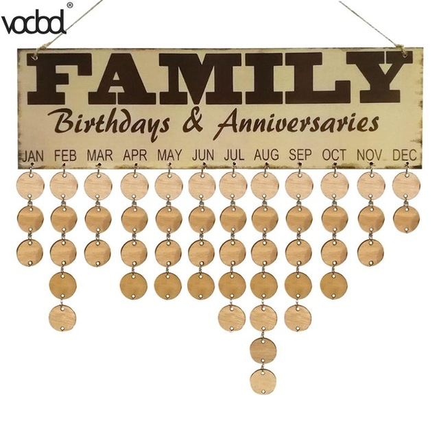family birthday calendar sign ; DIY-Wooden-Calendar-Family-Birthday-Anniversary-Wall-Calendar-Sign-Special-Dates-Planner-Board-Home-Hanging-Decor