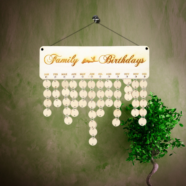 family birthday calendar sign ; DIY-Wooden-Family-Birthday-Calendar-with-Lovely-Birds-Anniversary-Board-Sign-Planner-Hanging-Wall-Decorations-Wedding